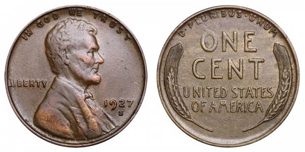 1927 S Lincoln Wheat Cent Penny
