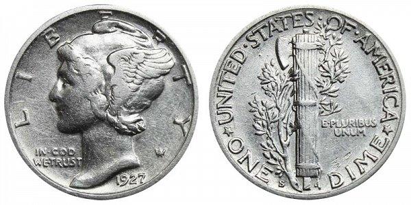 1927 S Silver Mercury Dime