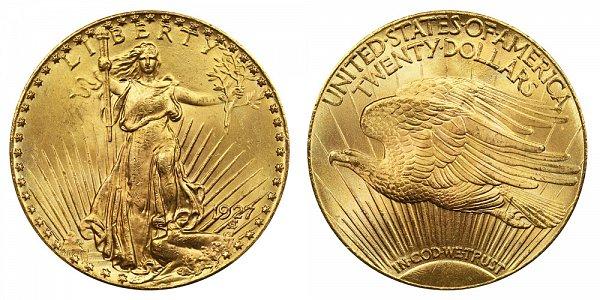 1927 Saint Gaudens $20 Gold Double Eagle - Twenty Dollars
