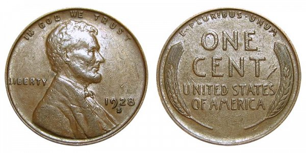 1928 S Lincoln Wheat Cent Penny