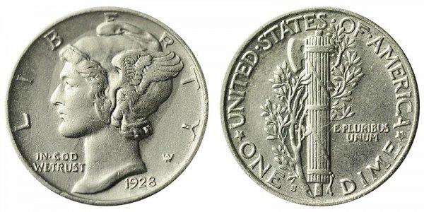 1928 S Silver Mercury Dime