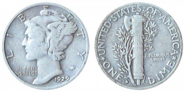 1929 D Silver Mercury Dime