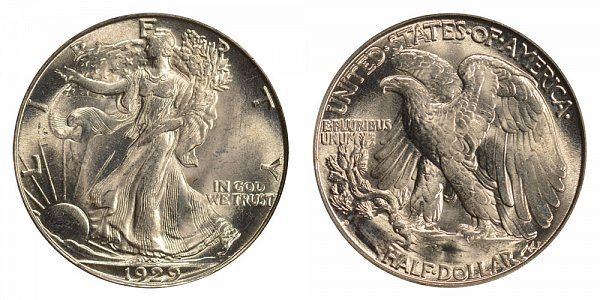 1929 D Walking Liberty Silver Half Dollar