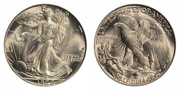 1929 D Walking Liberty Silver Half Dollar