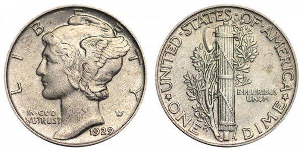 1929 Silver Mercury Dime