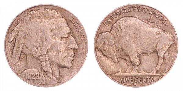1929 S Indian Head Buffalo Nickel