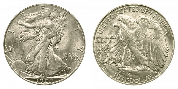 1929 S Walking Liberty Silver Half Dollar
