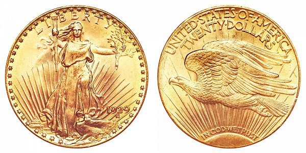 1929 Saint Gaudens $20 Gold Double Eagle - Twenty Dollars