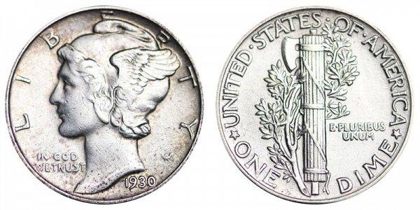 1930 Silver Mercury Dime