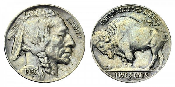 1930 S Indian Head Buffalo Nickel