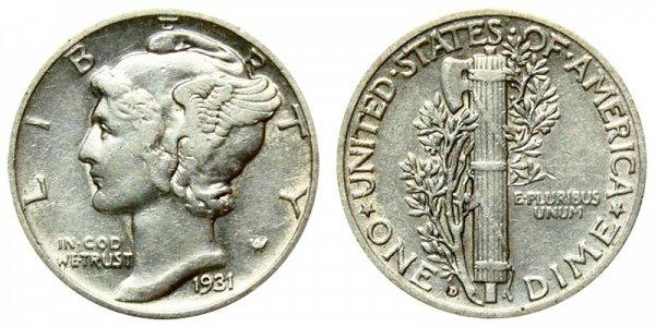 1931 D Silver Mercury Dime