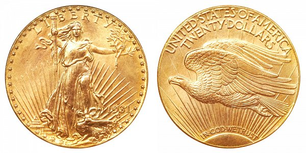 1931 D Saint Gaudens $20 Gold Double Eagle - Twenty Dollars