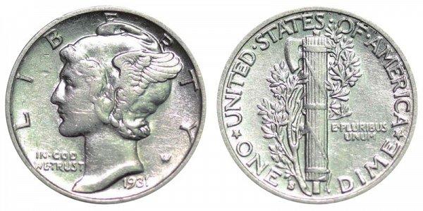 1931 S Silver Mercury Dime