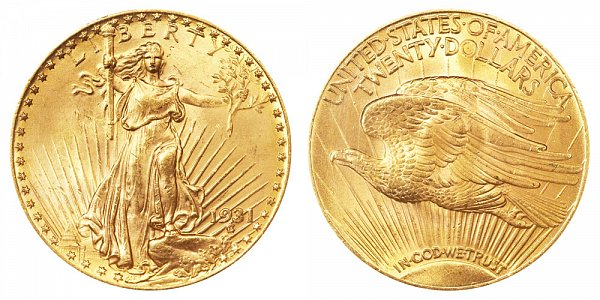 1931 Saint Gaudens $20 Gold Double Eagle - Twenty Dollars
