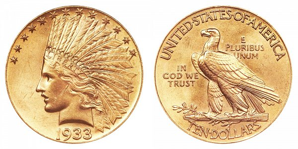 1933 Indian Head $10 Gold Eagle - Ten Dollars