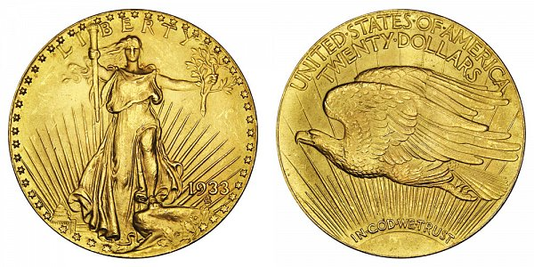 1933 Saint Gaudens $20 Gold Double Eagle - Twenty Dollars