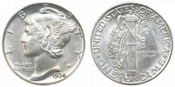 1934 D Silver Mercury Dime