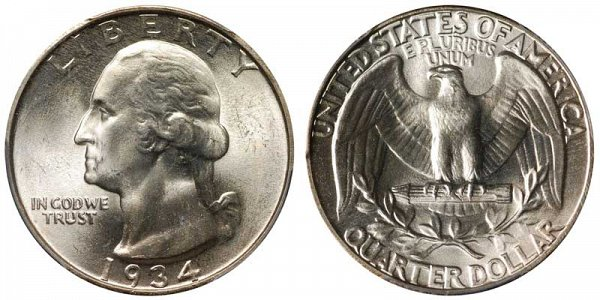 1934 Washington Silver Quarter - Medium Motto