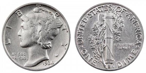 1934 Silver Mercury Dime