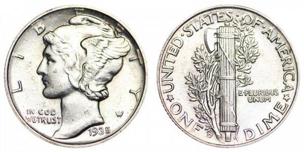 1935 D Silver Mercury Dime