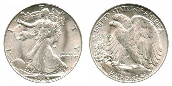 1935 D Walking Liberty Silver Half Dollar