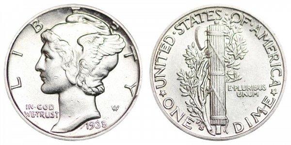 1935 S Silver Mercury Dime