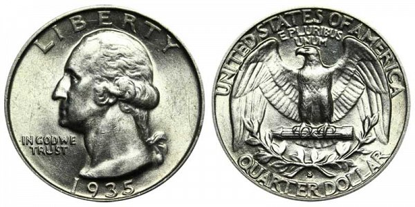 1935 S Washington Silver Quarter