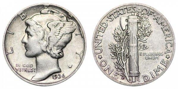 1936 D Silver Mercury Dime