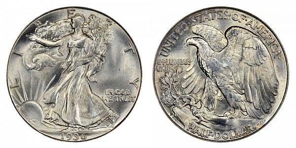 1936 D Walking Liberty Silver Half Dollar
