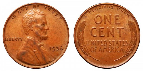 1936 Lincoln Wheat Cent Penny