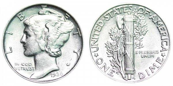 1936 Silver Mercury Dime