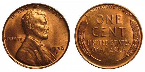 1936 S Lincoln Wheat Cent Penny