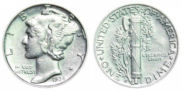 1936 S Silver Mercury Dime