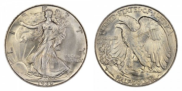 1936 S Walking Liberty Silver Half Dollar
