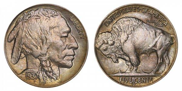 1937 D Indian Head Buffalo Nickel