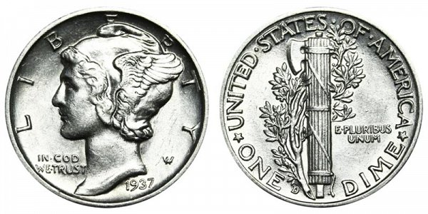 1937 D Silver Mercury Dime