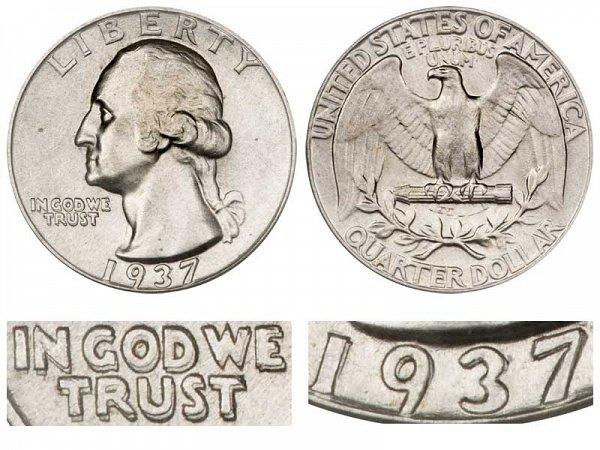 1937 Doubled Die Obverse DDO Washington Silver Quarter