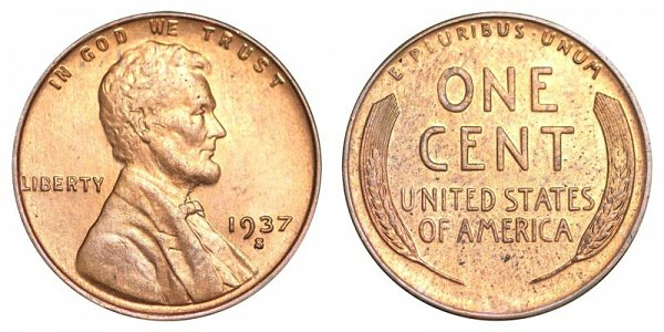 1937 S Lincoln Wheat Cent Penny