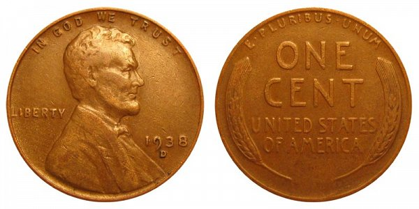 1938 D Lincoln Wheat Cent Penny