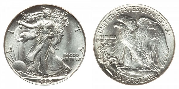 1938 D Walking Liberty Silver Half Dollar