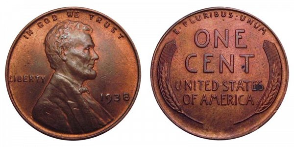 1938 Lincoln Wheat Cent Penny