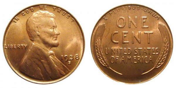1938 S Lincoln Wheat Cent Penny