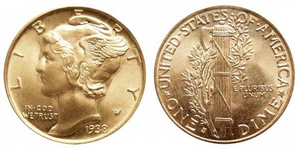 1938 S Silver Mercury Dime
