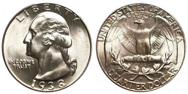 1938 S Washington Silver Quarter