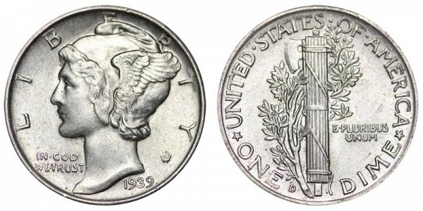 1939 D Silver Mercury Dime