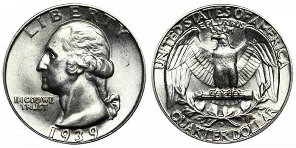 1939 D Washington Silver Quarter