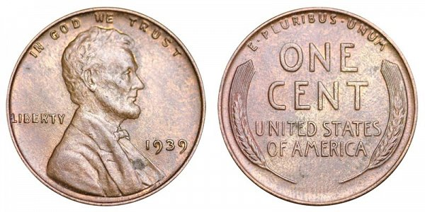 1939 Lincoln Wheat Cent Penny