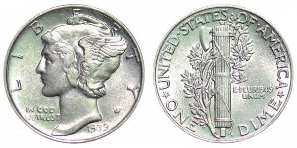 1939 Silver Mercury Dime