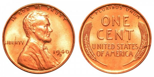1940 S Lincoln Wheat Cent Penny
