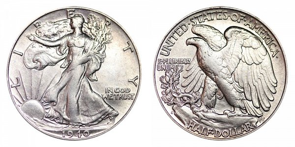 1940 S Walking Liberty Silver Half Dollar